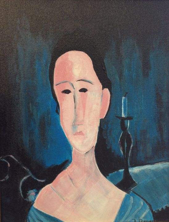 Lady in Blue - Jozsef Burge Gallery