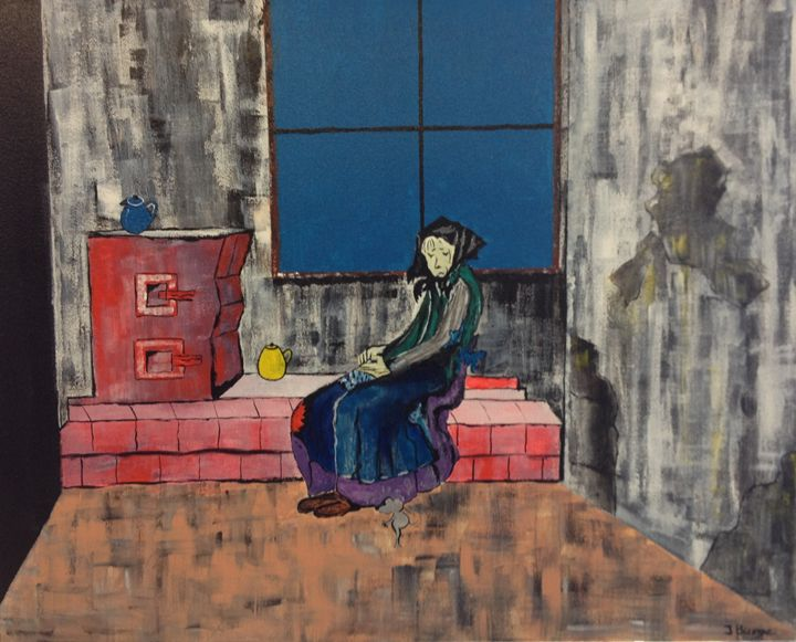 Old Lady by Window - Jozsef Burge Gallery