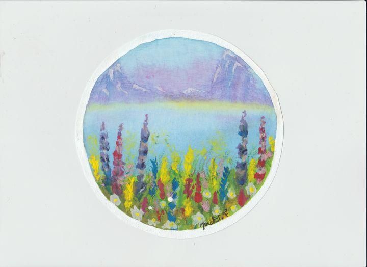 Flower and mountain view - mouekit_art