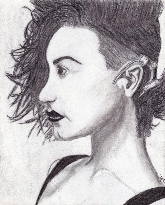 Charcoal Demi Lovato Art - Jaycie Bowling
