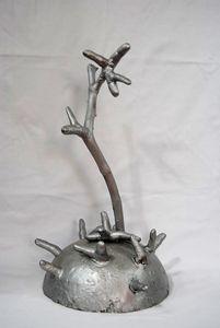 Sculpure sur socle-Du bout des doig