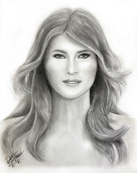 First Lady Malania Trump (pencil) - Dale Shipman Art