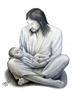 Jesus holding a newborn baby - Dale Shipman Art