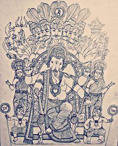 Hindu god ganesha with riddhi siddhi