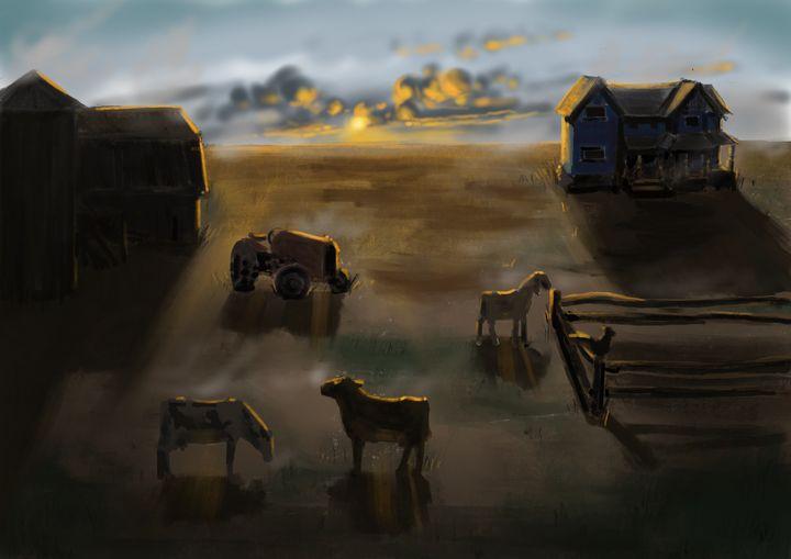 Morning on the farm - jvartandillustration
