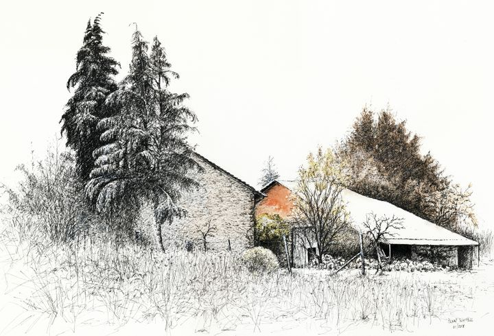 Two Barns in the snow - Henry Whittell
