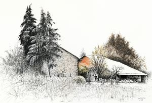 Two Barns in the snow