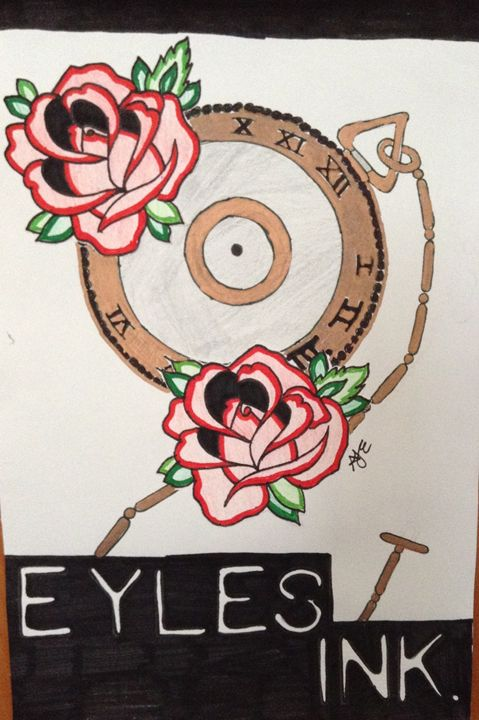 Eyles Ink Pocket Watch and Roses - Eykes Ink Sale Print