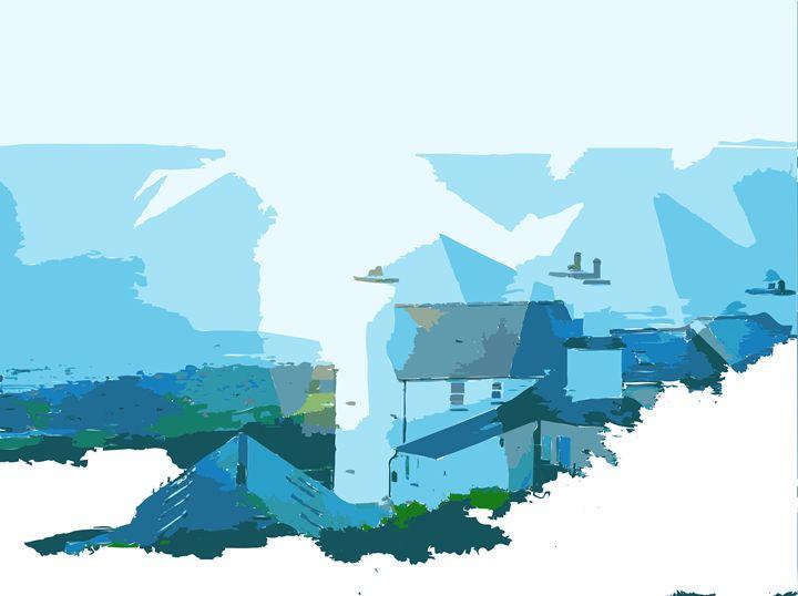 Coastal cottage landscape - ClareSavinsonart