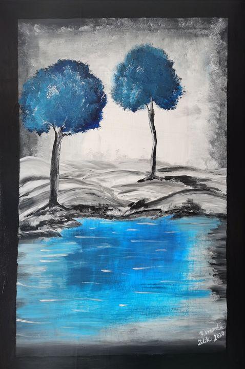 """Blue Wander"" - Original Paint - Petronela Art"