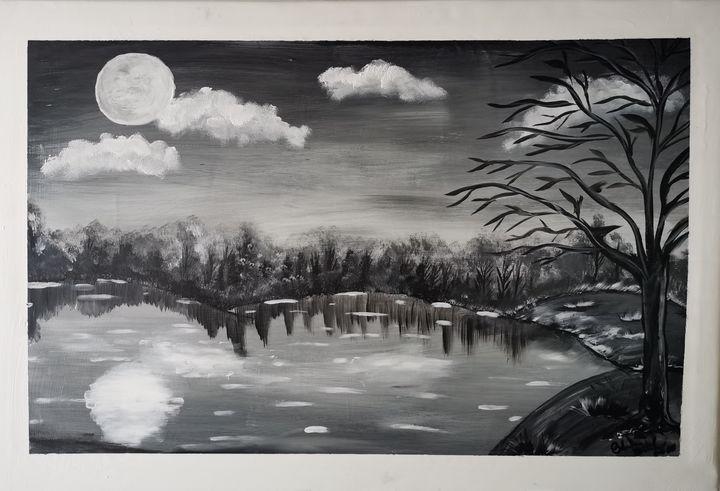 """Peaceful Lake"" - Original Paint - Petronela Art"
