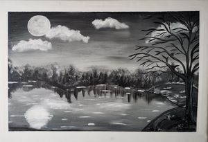 """Peaceful Lake"" - Original Paint - Petronela Art"