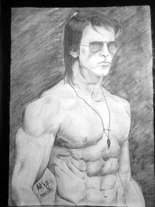 hrithik roshan body pencil drawing - manish's pencil paintings
