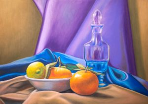 Still life with lemon and tangerines