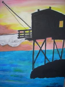 OIL PAINTING FISHING HUT - Lodya