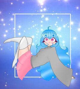 Blue haired anime girl floating
