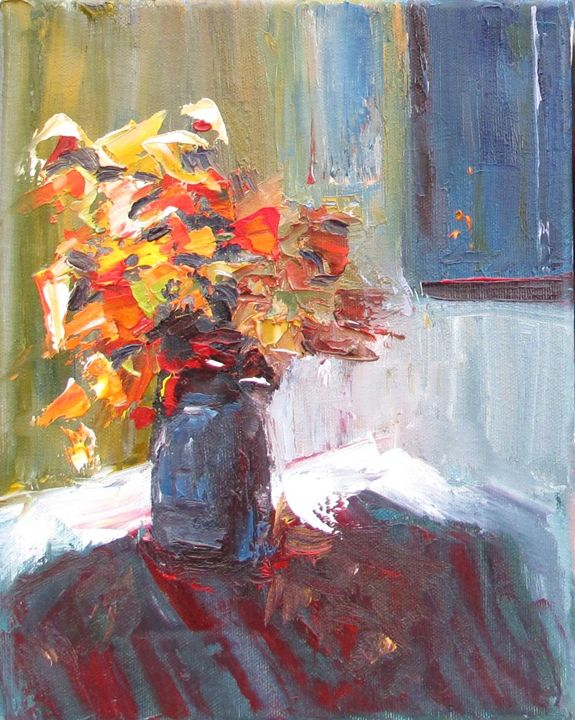 Bouquet in a blue vase - Elena Nayman