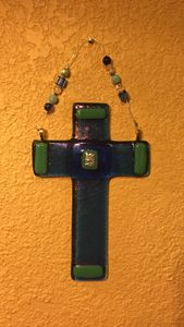 Hand made glass blue cross