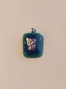 blue and green glass pendent