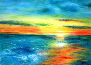 Amazing bright  Sun rise on the sea