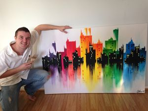 Large abstract cityscape canvas