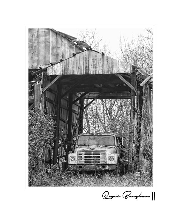 OLD TRUCK IN A BARN - The Art Store