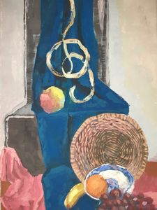 still life fruit blue basket