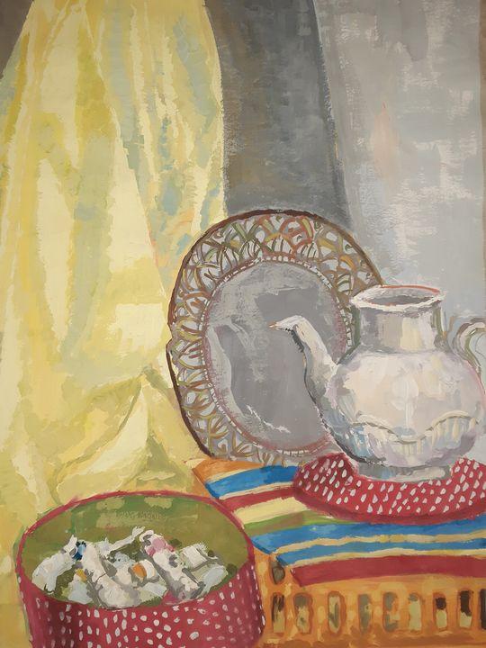 still life teapot pillow yellow - Katarina