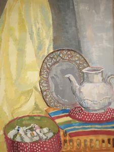 still life teapot pillow yellow