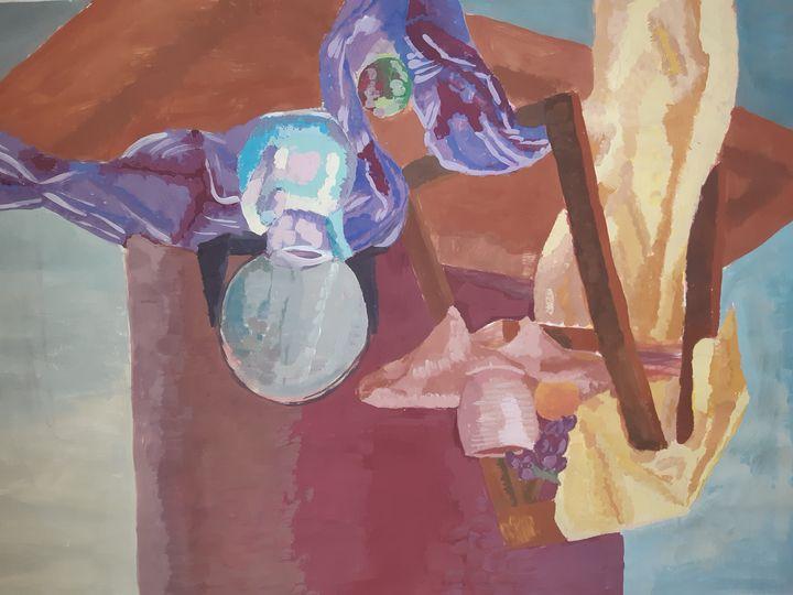 still life mirror vase fruit chair - Katarina