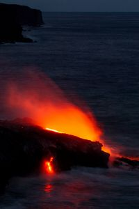 Lava flowing into the sea