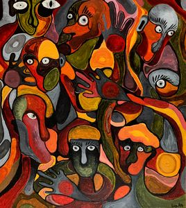 Abstract surreal creatures oil art