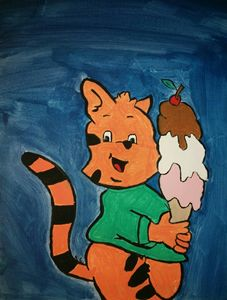 Tiger holding ice cream