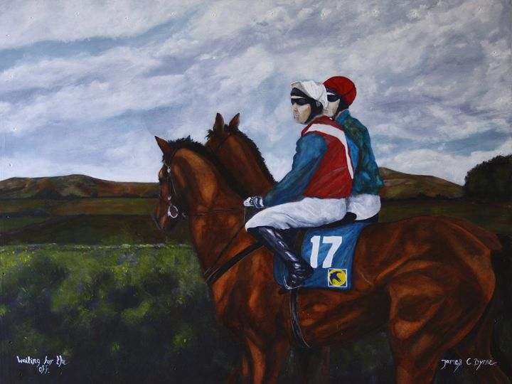 Waiting for the off - James C Byrne Equine Art