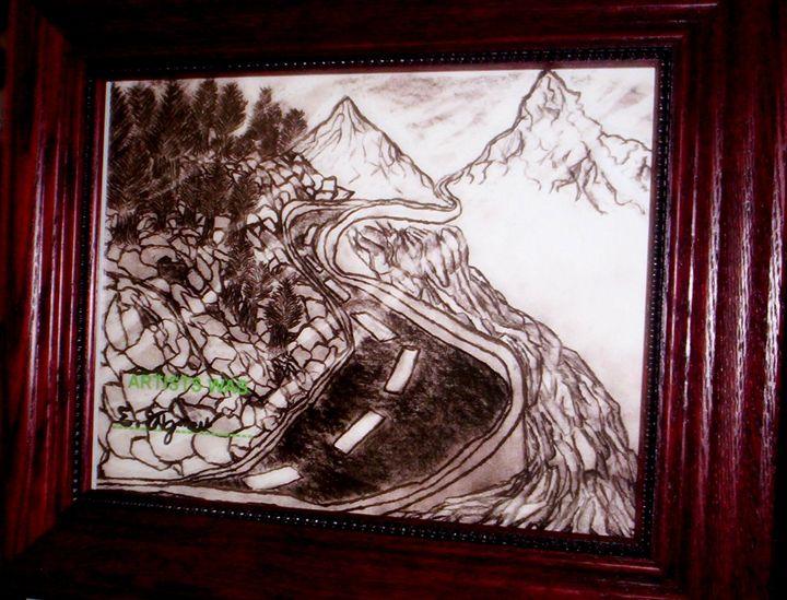 Pencil Art Drawing Mountain River - Erica Engman