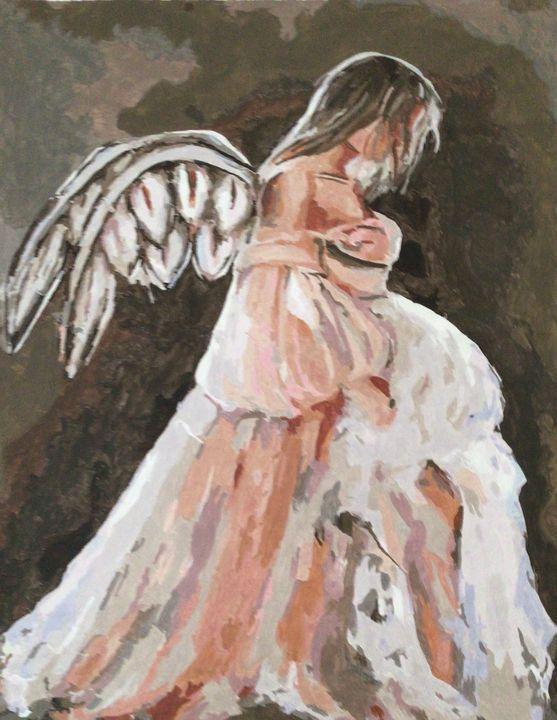 Sad Angel - Yellow Cottage Art - Ronni Dewey