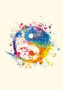 Watercolor - yin-yang symbol