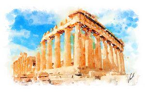Watercolor The Parthenon, Greece
