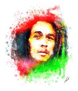 Watercolor Bob Marley by Vart