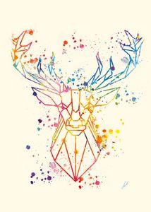 Watercolor Deer by Vart