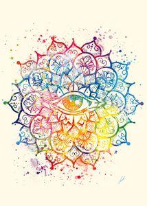 Watercolor Mandala of consciousness