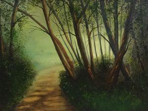 Forest path into morning light - joripoutanenart
