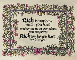 Rich Calligraphy Art Print