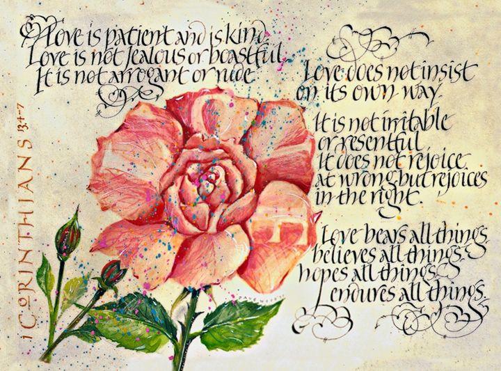 1 Corinthians Calligraphy Art print - Dave Wood Calligraphy