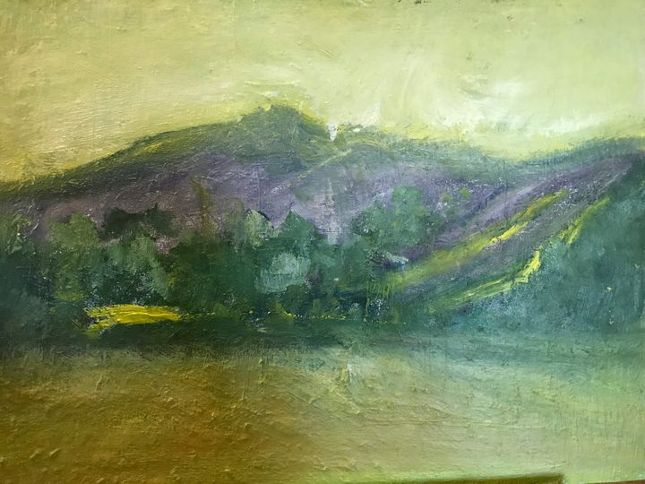 Purple and green mountain - Louise Gibler Art