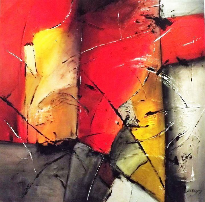 Red abstract 100x100cm - Natacha Skorochod Velásquez