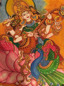 Saraswathi playing the veena