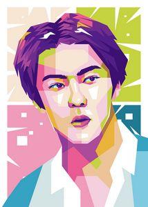 EXO SEHUN POP ART ILLUSTRATION