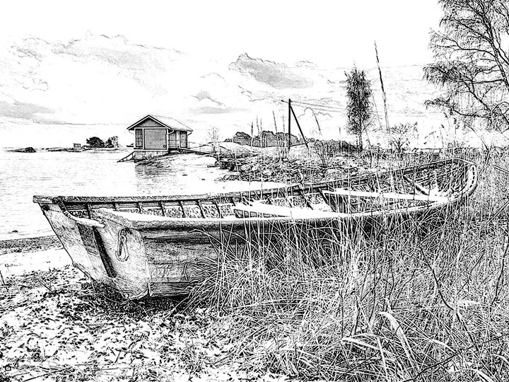 Wood Boat - Will Clark Art