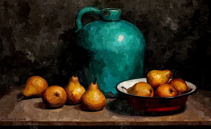 Teal jug and pears - Will Clark Art